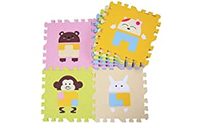TheTickleToe Baby Nursery Room Decor Floor Mat Puzzle Toy Game Motor Skill Educational with Animal Cut Outs 9 Pcs+12 Pcs Borders