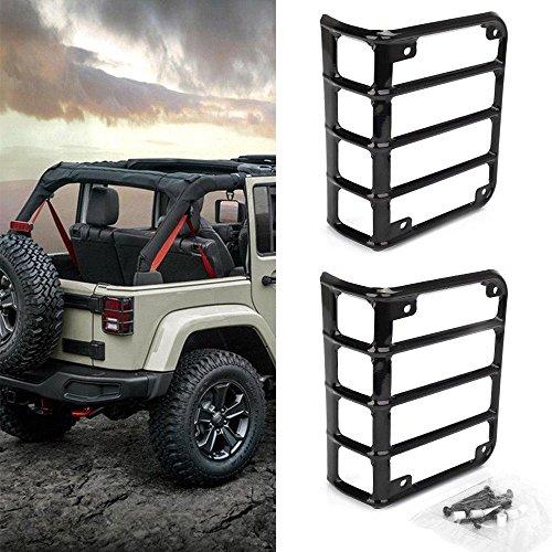 BEESCLOVER 1 Paar Profi Stahl-Lichtschutz für Rückleuchten von 07-18 Jeep Wrangler (Rückleuchten Jeep Wrangler)