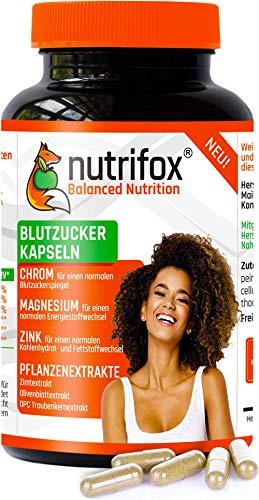 NUTRIFOX Blutzucker & Stoffwechsel Kapseln mit pflanzlichen Extrakten (Ceylon-Zimt, OPC Traubenkernextrakt, Olivenblattextrakt) und Mineralien (Chrom, Zink, Magnesium) - 120 Premium Kapseln, vegan