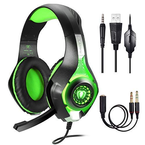 Cuffie Gaming per PS4 PC, Stereo Gaming Headset,Cuffie da Gioco, Samoleus 3.5mm Jack Cuffie Gamer con Microfono per Playstation 4, Switch, Computer, Tablet, Smartphone (Green)