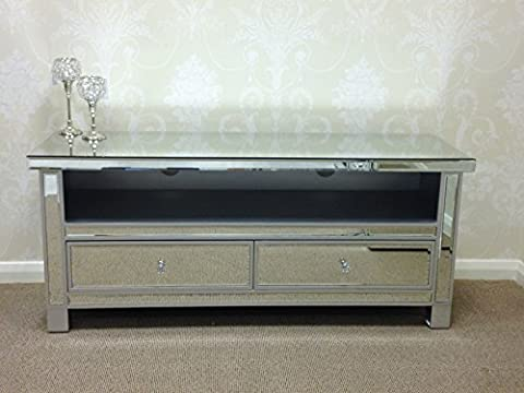 Large Silver Edged Venetian Mirrored Glass 2 Drawer Widescreen TV Stand Cabinet