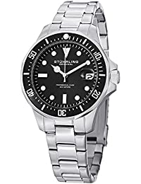 (CERTIFIED REFURBISHED) Stuhrling Original Aquadiver Analog Black Dial Men's Watch - 664.01