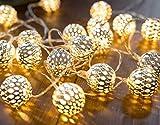 EXQULEG LED Lichterkette marokkanische Kugeln Gold |3 Meter Gesamtlänge | 30 warm-weiße LEDs - batteriebetrieben