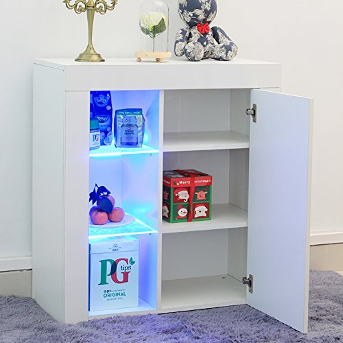 Sideboard Cabinet ,WarmieHomy Modern Sideboard Chest of Drawer High Gloss LED Lighting for Living Room Furniture White