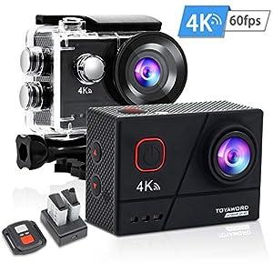 Toyaword outdoor sport Action Cam 4K 60FPS 20MP Sportkamera 40M wasserdichte Unterwasserkamera WiFi actioncam mit EIS Sensor 2.4G Fernbedienung externem Mikrofon Montage Zubehör Kit
