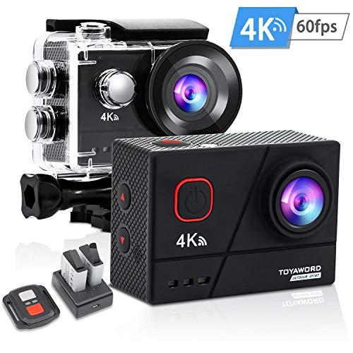 Toyaword Action Cam Real 4K / 60FPS 20MP Sportkamera 40M wasserdichte Unterwasserkamera Digitale WiFi actioncam mit EIS Sensor, 2.4G Fernbedienung, externem Mikrofon und Montage Zubehör Kit