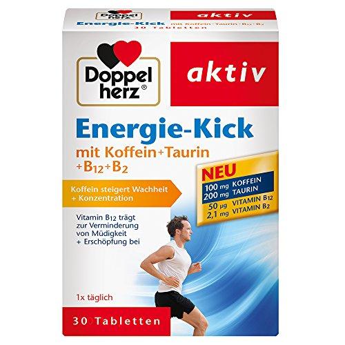 Doppelherz Energie-Kick mit Koffein + Taurin + B12 + B2 / Koffein zur Steigerung von Wachheit und Konzentration / 1 x 30 Tabletten -