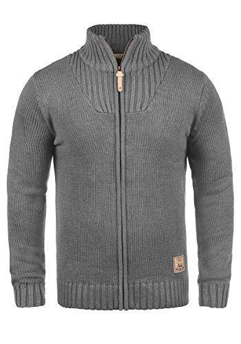 !Solid Poul Herren Strickjacke Cardigan mit Stehkragen aus Hochwertiger Baumwollmischung, Größe:XL, Farbe:Grey Melange (8236)