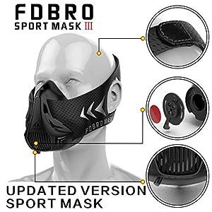 FDBRO Trainingsmaske, Sportmaske für Fitness, Laufen, Widerstand, Cardio, Ausdauermaske für Fitnesstraining, Sportmaske 3.0 mit Tragetasche
