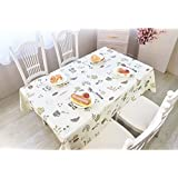 Duofire Wipe-Clean Tablecloth Heavy Weight Table Cover PVC Tablecloth Spill-Proof | Oil-proof | Waterproof | Stain Resistant | Mildew Proof (137cm x 240cm, PW94R148A)