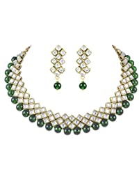 Shining Diva Party Wear Green Kundan Choker Traditional Jewellery Necklace Set with Earrings for Women Girls(7815s)