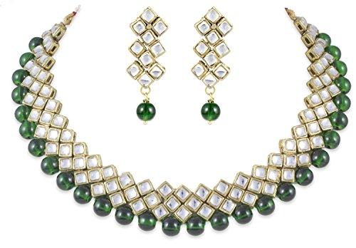 Shining Diva Party Wear Green Kundan Choker Traditional Jewellery Necklace Set with Earrings for Women Girls(7815s)