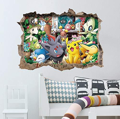 Pocket Monster lustige süße Pikachu Home Decals Wandaufkleber weltberühmten Cartoon-Spiel für Kinderzimmer
