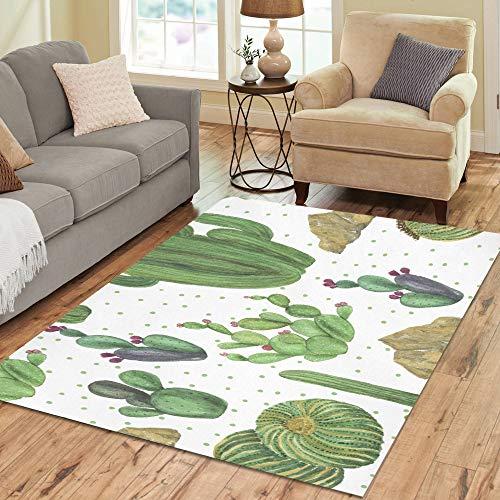 Precioso verde Acuarela Oasis Cactus Aduana grande antideslizante moderna Área piso Alfombra Almohadilla Estera Alfombra oriental comercial para sótano Dormitorio Sala estar Cocina Decoración 5 'X 7'