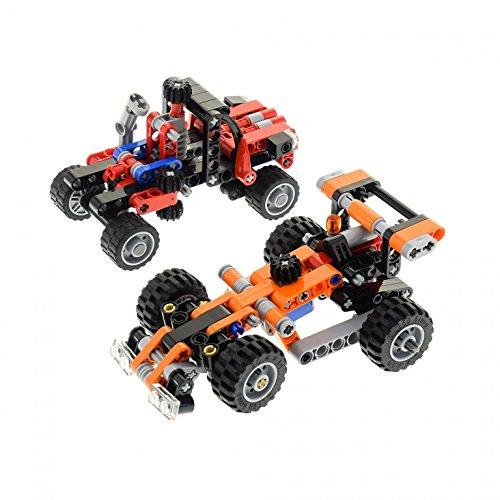 Preisvergleich Produktbild 1 x Lego Technic 2er Set Modell 9390 Mini Tow Truck Rennwagen orange 8065 Mini Container Truck rot schwarz Car Auto incomplete unvollständig