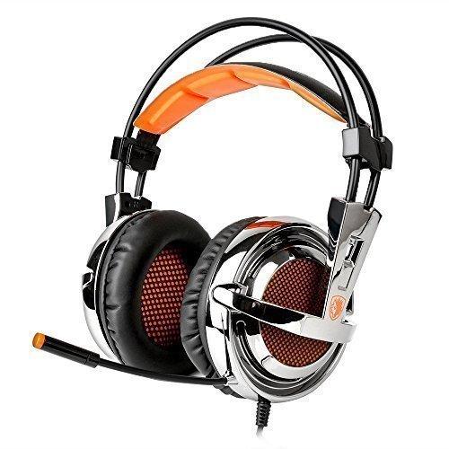 Sades SA928 Professionelle Gaming Kopfhörer Surround Sound Stereo Headset über Ohr Stirnband mit hochempfindlichen Mikrofon und Sades Einzelhandel Geschenkbox für PC Laptop PS3 Xbox 360 (Lautstärkeregelung) Schwarz+Orange (10 Pc Ben)