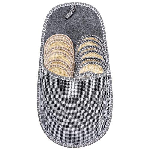 GWELL 6er Set Gästehausschuhe Gäste Pantoffeln aus Leinen Baumwolle Papierstroh Antirutsch Sommer Slipper Unisex Größe 38/44 Grau ()