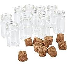 PandaHall 10 pcs Botellas de deseo de vidrio transparente , Viales con tapas de corcho, Contenedores de abalorios, 40x22 mm