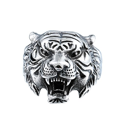 PAMTIER Herren Edelstahl Jahrgang Gotisch Biker Tiger Kopf Ring Band Tierentwurf Schwarz Silber Größe 62 (19.7)