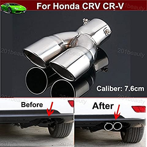 1pcs Double Outlets Stainless Steel Tailpipe Exhaust Muffler Tail Pipe Tip Extension Pipes End Pipes Silver Custom Fit For Honda CRV CR-V 2007 2008 2009 2010 2011 2012 2013 2014 2015 2016 2017