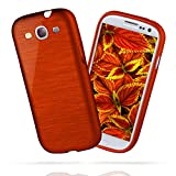 moex Samsung Galaxy S3 | Hülle Silikon Rot Brushed Back-Cover TPU Schutzhülle Ultra-Slim Handyhülle für Samsung Galaxy S3 / S III Neo Case Dünn Silikonhülle Rückseite Tasche