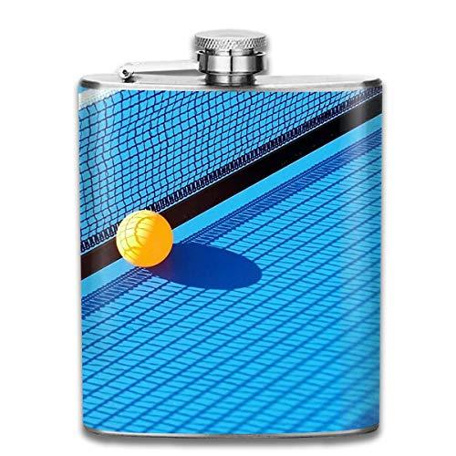 Rundafuwu Flask for Liquor and Funnel, Table Tennis Ball and Net Hip Flask for Liquor Stainless Steel Bottle Alcohol 7oz