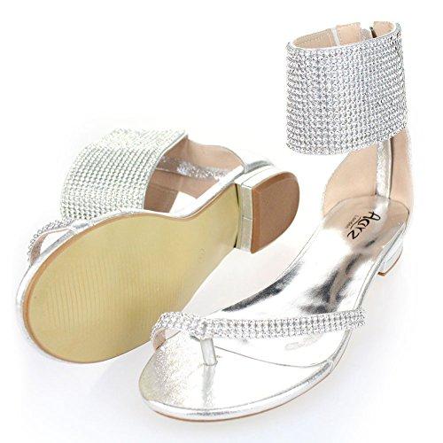 Aarz Frauen-Dame-Abend beiläufiger Komfort Wohnung Diamante Slipper Gladiator Sandale Schuh-Größe (Schwarz, Silber, Gold, Champagne) Silber