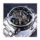Winner Reloj para Hombres Mecánico Esqueleto mecánico Dial 3-Puntero Correa de Acero Inoxidable Negocio/Casual Reloj de Pulsera Transparente para Hombres,blacksilver