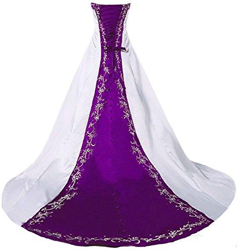 Vantexi Damen Trägerloses Stickerei Brautkleid Hochzeitskleider Weiß Lila 40
