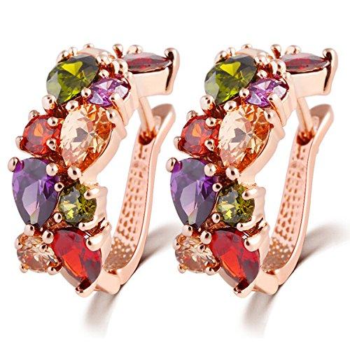 Butterme elegante fibbia orecchio colorati squisita cristallo presente placcato oro zirconi perno regalo gioielli orecchino donne-oro