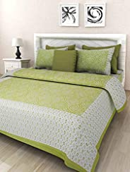 Harsh Textiles Handprinted 120 TC Pure Cotton Queen Size Bedsheet with 2 Pillow Cover (Green, Queen Size, HT-1