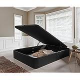 Canapé de Polipiel Abatible de Gran Capacidad 135x190cm. Color Negro