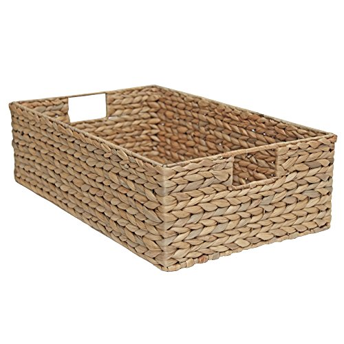 Aufbewahrungskorb aus Weidenholz für Regal, Schublade, rechteckig, Naturwasserhyazinthe, Weide, Natural Oatmeal, Medium - L 50 x W 30 x H 15cm -