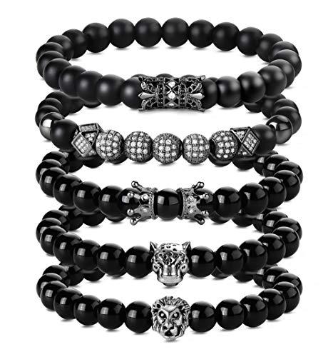 BE STEEL 5 STÜCKE 8 MM Beads Armbänder für Herren Männer Lion Leopard Kopf Charm Armband Rock Punk Biker Armband Set Elastische - Armband Bead Herren