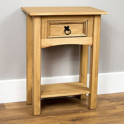 Home Discount® Corona Console Table 1 Drawer With Shelf Waxed Pine
