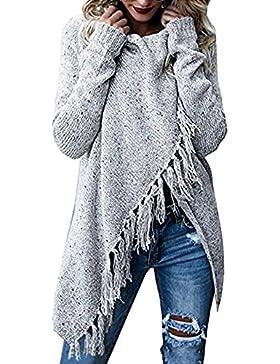 Mujer Jersey Invierno Elegante Atractivo Casual V Cuello Tejer Prendas De Punto Mangas Largas Borla Largo Suéter