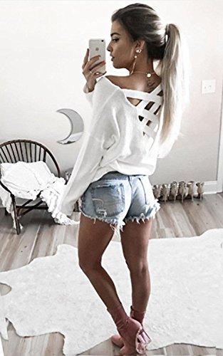 Minetom Damen Frühling Sexy Lange Ärmel Shirts Zurück V-Ausschnitt Kreuz Hohl Langarmshirts Pullover Tops Weiß
