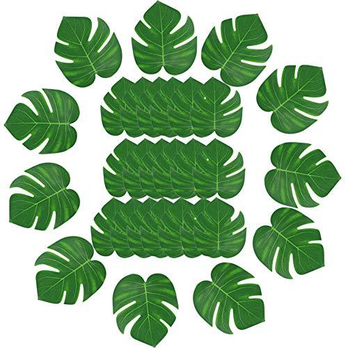 Vidillo Tropische Blätter 30 STK, künstliche Palmenblätter Hawaiian Luau Party Decor Medium Simulation Tropical Monstera Pflanze Blätter für Home Kitchen Safari Jungle Beach Theme Geburtstag Party