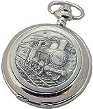 A E Williams Steam train mens quartz pocket watch with chain