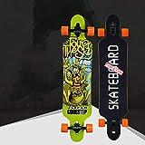1-1 Skateboard Professionale da Strada, Acero a 8 Strati Alta velocità Rumore Basso Longboard per Bambini Adulti,L