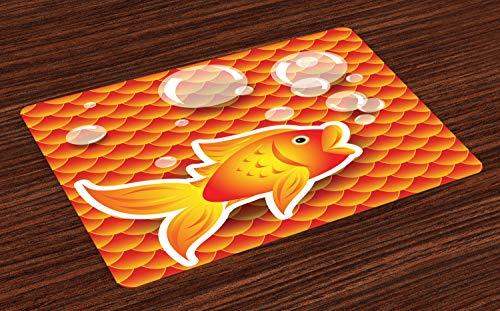 ABAKUHAUS Orange Platzmatten, Kleiner Goldfisch im Gespräch mit Blasen zufällige Jakobsmuschel-Muster nautischen Seedruck, Tiscjdeco aus Farbfesten Stoff für das Esszimmer und Küch, Dunkelorange