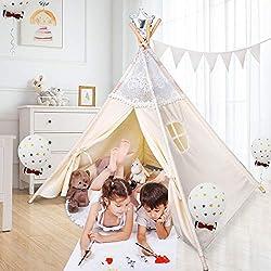 besrey Tipi Chambre Enfant - Tente Indienne Pliable, Tipis de Jeu, Jouet Garçons et Filles, à l'intérieur et à l'extérieur - Beige(Dentelle)