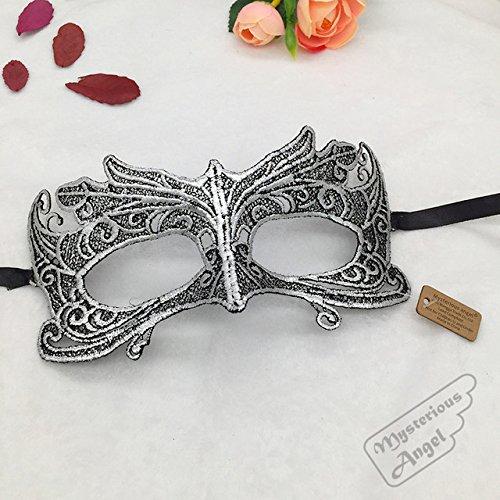 Tocoss(TM) Mysterious Engel harte Spitze-Masken-Halloween-Party Sexy Maske Spitze Maske Maskerade Maske gold rot schwarz Kleid Venetian Carnival [Silber]