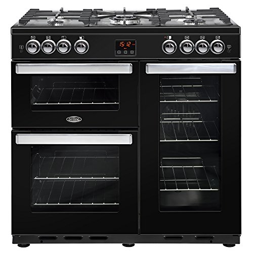 Belling 444444077 Cookcentre 90G 90cm Gas Range Cooker Black Best Price and Cheapest