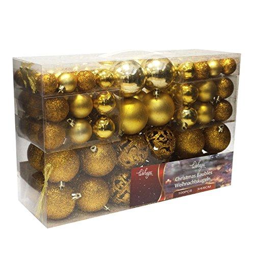 Wohaga® 100 Stück Weihnachtskugeln Christbaumkugeln Baumschmuck Weihnachtsbaumschmuck Baumkugeln, Farbe:Gold