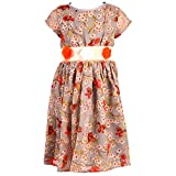Toddla Peach Georgette Printed Dress wit...