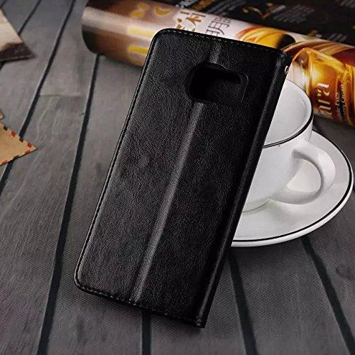 Wkae Case Cover Samsung S7edge Fall feste Folio magnetische Design Flip Brieftasche Stil Fall Farbmuster PU-Leder-Abdeckung Standup-Abdeckungsfall für Samsung S7edge ( Color : Brown , Size : Samsung S Black