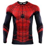 HOOLAZA 2019 Spiderman T Shirt Herren Joggen Motion Fitness Shirt Long Sleeve Kurzarm