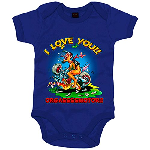 Body bebé I Love You Orgasmotor para moteros - Azul Royal, 12-18 meses