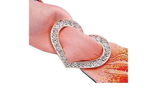 Luxe tendance ovale Strass M/étal Boucle /écharpes en soie Sarf Fermoir Clips V/êtements Foulard Bague support de Wrap pour femmes filles Cadeau de No/ël Silver